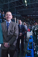 KELOWNA, CANADA - JANUARY 22: Mark LeRose, head coach Kevin Constantine and Mitch Love of the Everett Silvertips stand on the bench during the national anthem against the Kelowna Rockets on January 22, 2014 at Prospera Place in Kelowna, British Columbia, Canada.   (Photo by Marissa Baecker/Getty Images)  *** Local Caption *** Mark LeRose, Kevin Constantine; Mitch Love