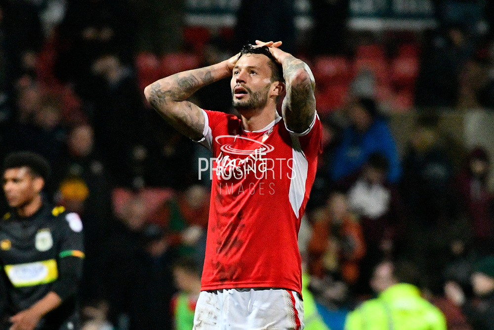 Marc Richards (17) of Swindon Town looks dejected at full time after a late Yeovil equaliser made the score 2-2 during the EFL Sky Bet League 2 match between Swindon Town and Yeovil Town at the County Ground, Swindon, England on 10 April 2018. Picture by Graham Hunt.