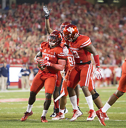 September 16, 2017 - Houston, TX, USA - Houston Cougars linebacker Matthew Adams (9) celebrates a fumble recovery during the first quarter of the college football game between the Houston Cougars and the Rice Owls at TDECU Stadium in Houston, Texas. (Credit Image: © Scott W. Coleman via ZUMA Wire)