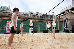 © Licensed to London News Pictures. 27/06/2012. LONDON, UK. With the Duracell Bunny watching on beach volleyball players take part in a 10 hour marathon game being held on a sand court in Covent Garden, London. Photo credit: Matt Cetti-Roberts/LNP