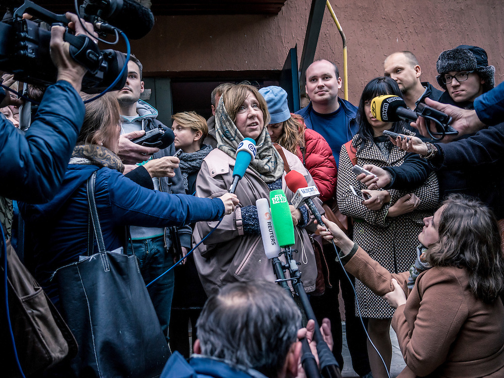 Svetlana Alexievich holds a news conference after the announcement that she had won the Nobel Prize for literature on Thursday, October 8, 2015 in Minsk, Belarus.
