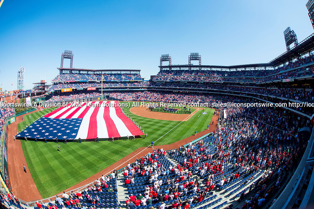 06 April 2015: The American flag waves proudly stretched over the outfield  during opening ceremonies before the opening day MLB game between the Boston Red Sox and the Philadelphia Phillies played at Citizens Bank Park in Philadelphia, PA