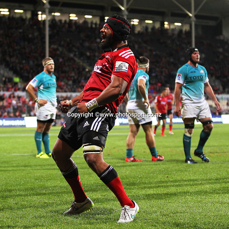 Jordan Taufua of the Crusaders celebrates scoring a try during the Investec Super Rugby game between the Crusaders v Cheetahs at AMI Stadium in Christchurch. 21 March 2015 Photo: Joseph Johnson/www.photosport.co.nz