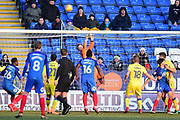 AFC Wimbledon goalkeeper (on loan from Sheffield United ) George Long (1) makes an important save  during the EFL Sky Bet League 1 match between Peterborough United and AFC Wimbledon at London Road, Peterborough, England on 24 February 2018. Picture by Dennis Goodwin.