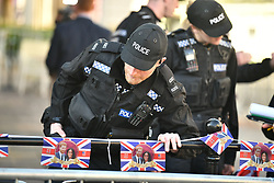 © Licensed to London News Pictures. 18/05/2018. London, UK. Police search the area surrounding the castle.  Prince Harry and Meghan Markle are to be married tomorrow (Saturday) at St George's Chapel in Windsor. Photo credit: Ben Cawthra/LNP