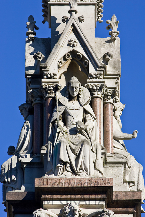 Queen Elizabeth I statue on Westminster School Memorial outside Westminster Abbey, London, United Kingdom