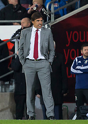 16.11.2013, Cardiff City Stadium, Cardiff, WAL, Fussball Testspiel, Wales vs Finnland, im Bild Wales' manager Chris Coleman reacts on the touchline // during the international friendly match between Wales and Finland at the Cardiff City Stadium in Cardiff, Great Britain on 2013/11/17. EXPA Pictures © 2013, PhotoCredit: EXPA/ Propagandaphoto/ Kieran McManus<br /> <br /> *****ATTENTION - OUT of ENG, GBR*****