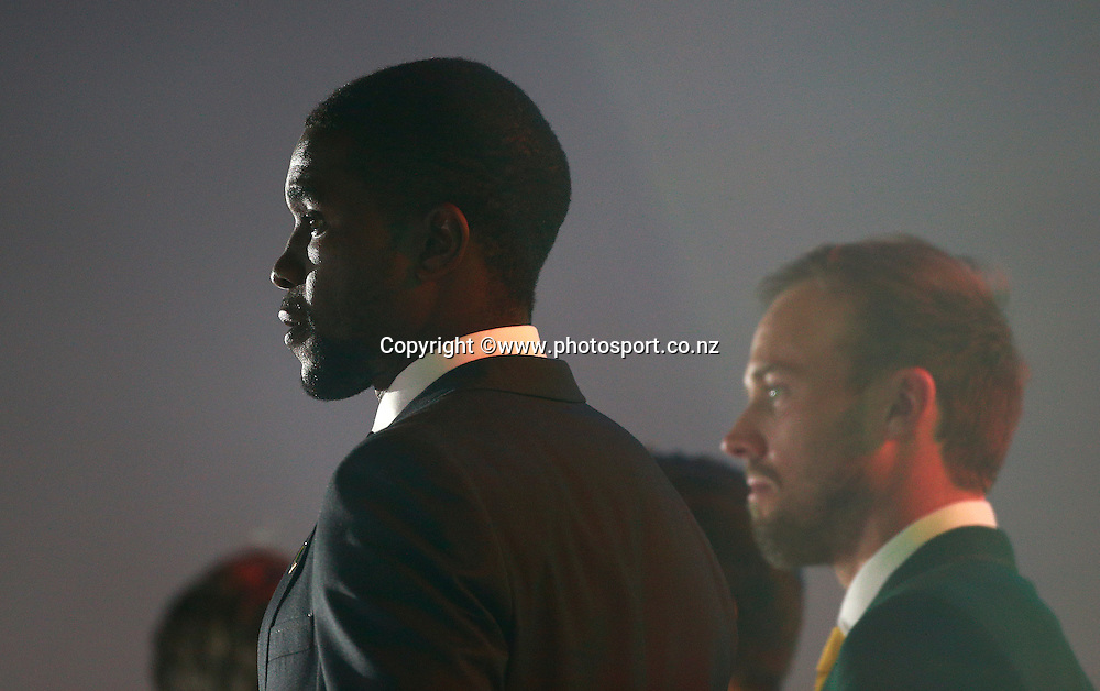Elton Chigumbura captain of Zimbabwe and AB de Villiers captain of South Africa during the ICC Cricket World Cup Opening Ceremony venue staged in Hagley Park, Christchurch. 12 February 2015 Photo: Joseph Johnson / www.photosport.co.nz