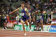 Soufiane El Bakkali (Morocco), Lamecha Girma (Ethiopia), Getnet Wale (Ethiopia), Men's 3000m Steeplechase, during the IAAF Diamond League event at the King Baudouin Stadium, Brussels, Belgium on 6 September 2019.