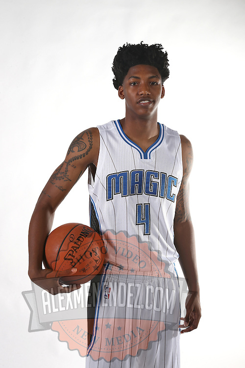 Orlando Magic guard Elfrin Payton poses for the camera during the NBA Orlando Magic media day event at the Amway Center on Monday, September 29, 2014 in Orlando, Florida. (AP Photo/Alex Menendez)