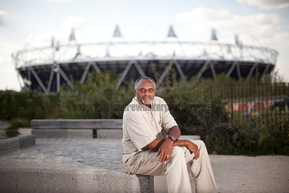 Tommie Smith, 200m Gold Medallist for the 1968 Olympic Games, on a visit to the London 2012 Olympic Stadium. 9th Aug 2011 .©Andrew Baker Photographer.07977074356er.07977074356.