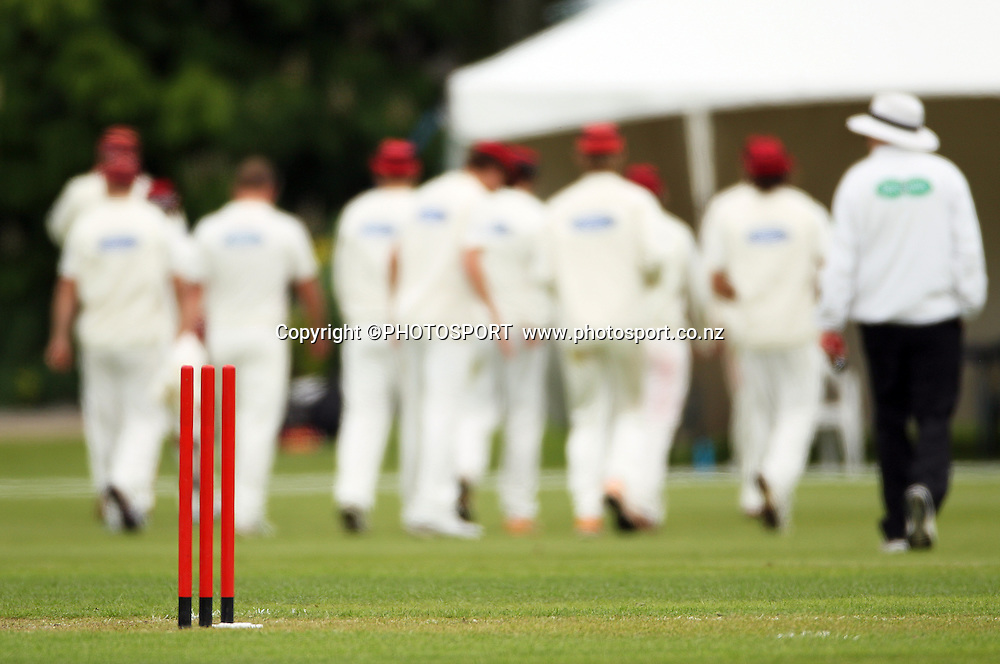 Canterbury team walk off at the lunch break. Plunket Shield Cricket, Day 1 of the 4 Day match between Canterbury Wizards v Wellington Firebirds. Played at Mainpower Oval, Rangiora, Monday 19 November 2012. Photo : Joseph Johnson/photosport.co.nz