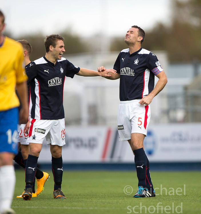 Falkirk's David McCracken cele scoring their fifth goal.<br /> Falkirk 6 v 0 Cowdenbeath, Scottish Championship game played at The Falkirk Stadium, 25/10/2014.