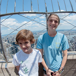 Eliza and Max at the 86th Floor Outdoor Observatory of the Empire State Builing, Manhattan, New York