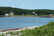 The village of Head Harbor viewed from Eastern Point, Isle au Haut, Maine, USA.