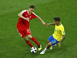 June 27, 2018 - Moscow, Russia - Group E Serbia v Brazil - FIFA World Cup Russia 2018.Nemanja Matic (Serbia) and Coutinho Philippe (Brazil) at Spartak Stadium in Moscow, Russia on June 27, 2018. (Credit Image: © Matteo Ciambelli/NurPhoto via ZUMA Press)