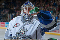KELOWNA, CANADA - SEPTEMBER 28:  Coleman Vollrath #35 of the Victoria Royals takes a drink at the Kelowna Rockets on September 28, 2013 at Prospera Place in Kelowna, British Columbia, Canada (Photo by Marissa Baecker/Shoot the Breeze) *** Local Caption ***