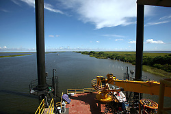 21 August 2010. Barataria Bay, south Louisiana. <br /> The view from the command center situated on a jack up barge at the mouth of the Barataria Bay. The structure serves as command and control for the deployment of boom and other efforts in the area  in the ongoing battle to clean up BP's disastrous oil spill in the Gulf of Mexico. <br /> Photo credit; Charlie Varley/varleypix.com