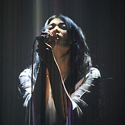 SILVER SPRING, MD - April 30th  2013 -  Mariqueen Maandig of How To Destroy Angels, the new band from Maandig's husband Trent Reznor, performs at the Fillmore Silver Spring in Silver Spring, MD. The band brought a stadium-sized light show to the club, performing behind a complex system of fiber optic cables that changed color and shape.  (Photo by Kyle Gustafson/For The Washington Post)