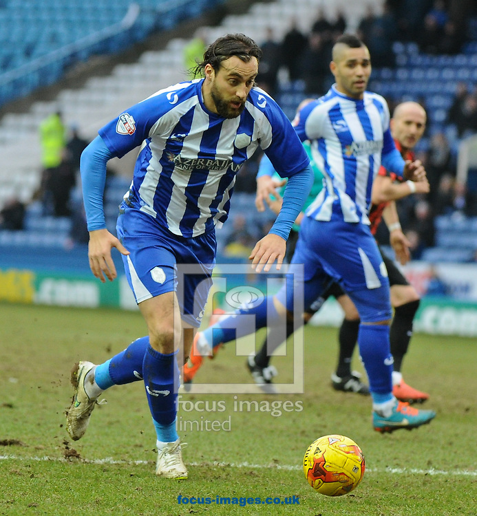 Atdhe Nuhiu of Sheffield Wednesday breaks forward during the Sky Bet Championship match at Hillsborough, Sheffield<br /> Picture by Richard Land/Focus Images Ltd +44 7713 507003<br /> 14/02/2015