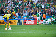 Paris, France - 2016 June 13: Zlatan Ibrahimovic of Sweden put the ball after lost goal while Sweden v Ireland match during Soccer European Championships UEFA EURO 2016 at Stade de France on June 13, 2016 in Paris, France.<br /> <br /> Adam Nurkiewicz declares that he has no rights to the image of people at the photographs of his authorship.<br /> <br /> Picture also available in RAW (NEF) or TIFF format on special request.<br /> <br /> Any editorial, commercial or promotional use requires written permission from the author of image.<br /> <br /> Mandatory credit:<br /> Photo by © Adam Nurkiewicz