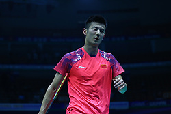 April 27, 2018 - Wuhan, Wuhan, China - Wuhan, CHINA-27th April 2018: Chinese badminton player Chen Long competes with WU Jialang at 2018 Badminton Asia Championships in Wuhan, central China's Hubei Province, April 27th, 2018. (Credit Image: © SIPA Asia via ZUMA Wire)