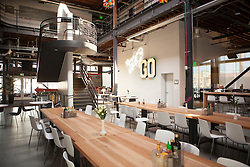Scenes from Pinterest Headquarters in San Francisco, California.  The large open lunch work room