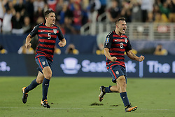 July 26, 2017 - Santa Clara, CA, USA - Santa Clara, CA - Wednesday July 26, 2017: Jordan Morris celebrates his goal during the 2017 Gold Cup Final Championship match between the men's national teams of the United States (USA) and Jamaica (JAM) at Levi's Stadium. (Credit Image: © John Dorton/ISIPhotos via ZUMA Wire)