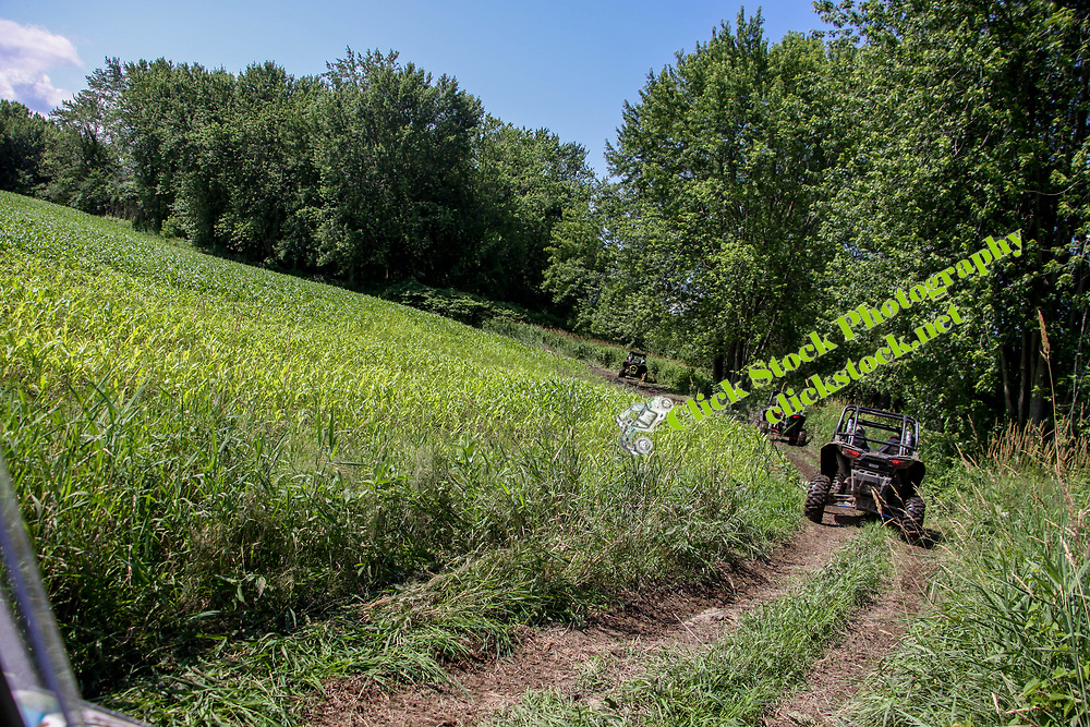 Riding along side a cornfield goes a Rzr, Rzr, Polaris Rzr, cornfield, NH, New Hampshire, New England, trees, atv, utv, sxs, ohrv, orv, trail riding, hobby, adventure, sports, therapy, Click Stock Photography