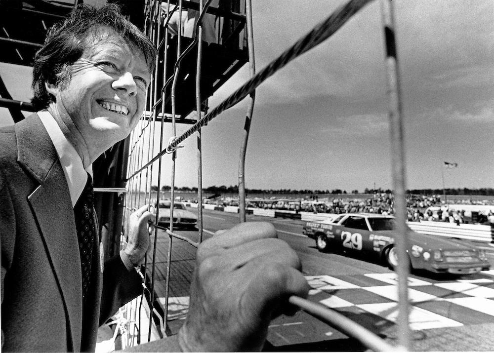 Jimmy Carter campaigns at at a NASCAR stock car race at the Atlanta International Speedway.