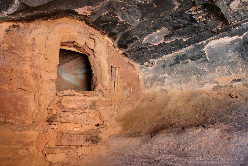 Anasazi granaries at Jail House Ruins, Bullet Canyon, Grand Gulch Primitive Area, Cedar Mesa Utah Bears Ears National Monument