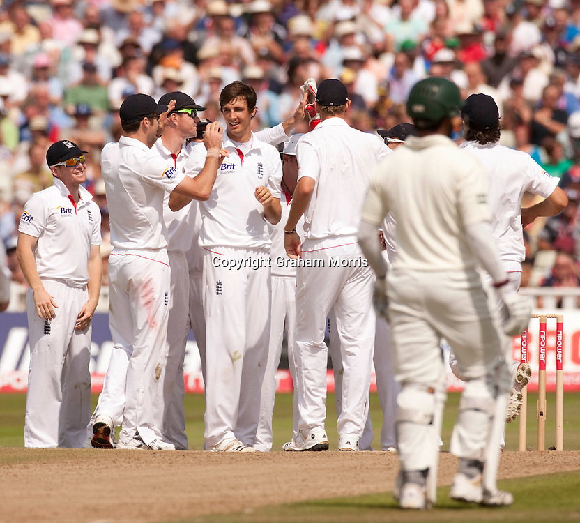 Bowler Steven Finn celebrates the wicket of Shoaib Malik during the second npower Test Match between England and Pakistan at Edgbaston, Birmingham.  Photo: Graham Morris (Tel: +44(0)20 8969 4192 Email: sales@cricketpix.com) 08/08/10