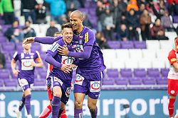05.05.2019, Generali Arena, Wien, AUT, 1. FBL, FK Austria Wien vs FC Red Bull Salzburg, Meistergruppe, 29. Spieltag, im Bild Austria Spieler feiern den Treffer // players of Austzria celebrate the goal during the tipico Bundesliga master group 29th round match between FK Austria Wien and FC Red Bull Salzburg at the Generali Arena in Wien, Austria on 2019/05/05. EXPA Pictures © 2019, PhotoCredit: EXPA/ Florian Schroetter
