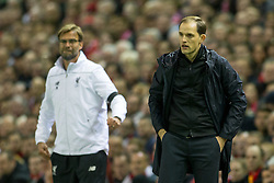 14.04.2016, Anfield Road, Liverpool, ENG, UEFA EL, FC Liverpool vs Borussia Dortmund, Viertelfinale, Rueckspiel, im Bild Trainer Juergen Klopp (FC Liverpool) und Trainer Thomas Tuchel (Borussia Dortmund) // during the UEFA Europa League Quaterfinal, 2nd Leg match between FC Liverpool vs Borussia Dortmund at the Anfield Road in Liverpool, Great Britain on 2016/04/14. EXPA Pictures &copy; 2016, PhotoCredit: EXPA/ Eibner-Pressefoto/ Schueler<br /> <br /> *****ATTENTION - OUT of GER*****