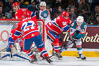 KELOWNA, CANADA - FEBRUARY 17: Dalton Hamaliuk #32 of the Spokane Chiefs back checks Dillon Dube #19 of the Kelowna Rockets as he attempts a wrap around goal on February 17, 2017 at Prospera Place in Kelowna, British Columbia, Canada.  (Photo by Marissa Baecker/Shoot the Breeze)  *** Local Caption ***
