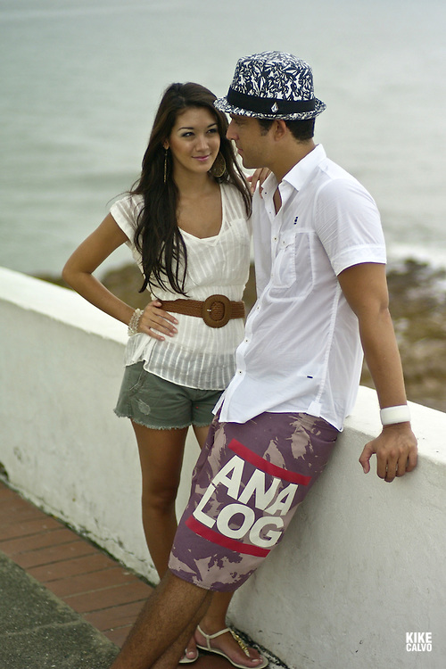 A young couple in love enjoys a day at Panama´s old city.