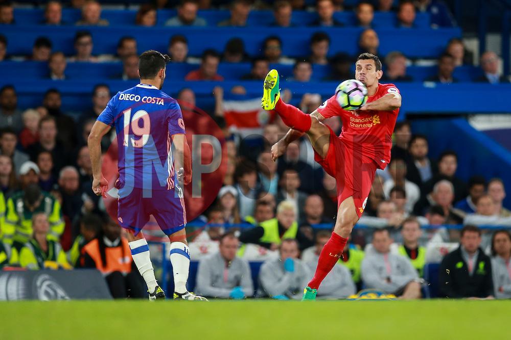 Dejan Lovren of Liverpool high kick - Mandatory by-line: Jason Brown/JMP - 16/09/2016 - FOOTBALL - Stamford Bridge - London, England - Chelsea v Liverpool - Premier League