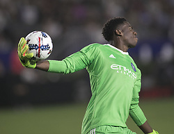 August 12, 2017 - Carson, California, U.S - Goalie, Sean Johnson #1 of the New York FC during their MLS game with the Los Angeles Galaxy on Saturday August 12, 2017 at StubHub Center in Carson, California. LA Galaxy loses to New York FC, 2-0. (Credit Image: © Prensa Internacional via ZUMA Wire)