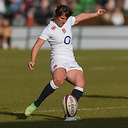 Katy McLean takes a conversion kick, England Women v Italy Women in Women's 6 Nations Match at Twickenham Stoop, Twickenham, England, on 15th February 2015. Final score 39-7.
