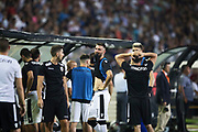 THESSALONIKI, GREKLAND - AUGUSTI 17: Spelare i PAOK Saloniki FC reagarar under UEFA Europa League Qualifying Play-Offs round first leg match mellan PAOK Saloniki och &Ouml;stersunds FK p&aring; Toumba Stadium, August 17, 2017 i Thessaloniki, Grekland. Foto: Nils Petter Nilsson/Ombrello<br /> ***BETALBILD***