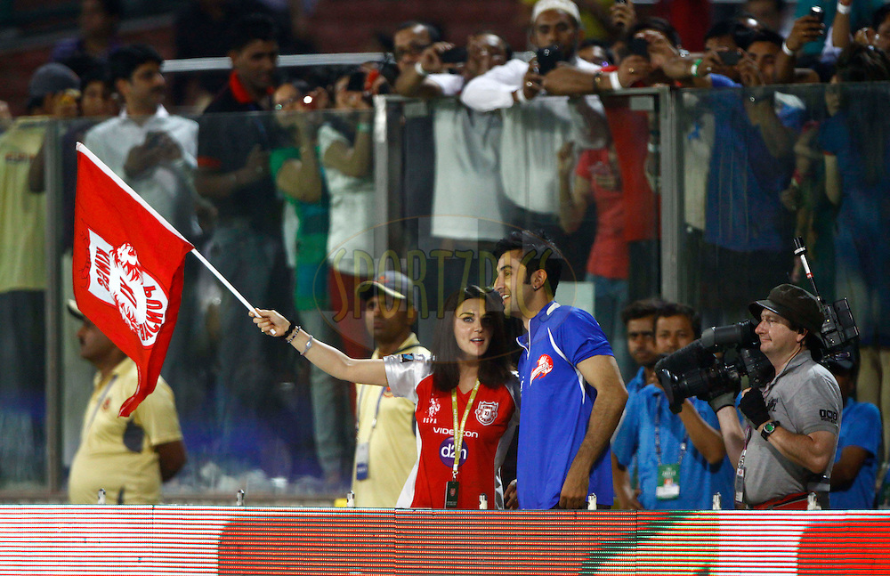 Bollywood actor Ranbir kapoor and Kings XI Punjab co owner Prety Zinta during match 64 of the the Indian Premier League ( IPL) 2012  between The D and elhi Daredevils and the Kings XI Punjab held at the Feroz Shah Kotla, Delhi on the 15th May 2012..Photo by Arjun Panwar/IPL/SPORTZPICS