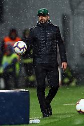 """Foto LaPresse/Filippo Rubin<br /> 04/04/2019 Reggio Emilia (Italia)<br /> Sport Calcio<br /> Sassuolo - Chievo Verona - Campionato di calcio Serie A 2018/2019 - Stadio """"Mapei Stadium""""<br /> Nella foto: ROBERTO DE ZERBI (ALLENATORE SASSUOLO)<br /> <br /> Photo LaPresse/Filippo Rubin<br /> April 04, 2019 Reggio Emilia (Italy)<br /> Sport Soccer<br /> Sassuolo vs Chievo Verona - Italian Football Championship League A 2018/2019 - """"Mapei Stadium"""" Stadium <br /> In the pic: ROBERTO DE ZERBI (SASSUOLO TRAINER)"""