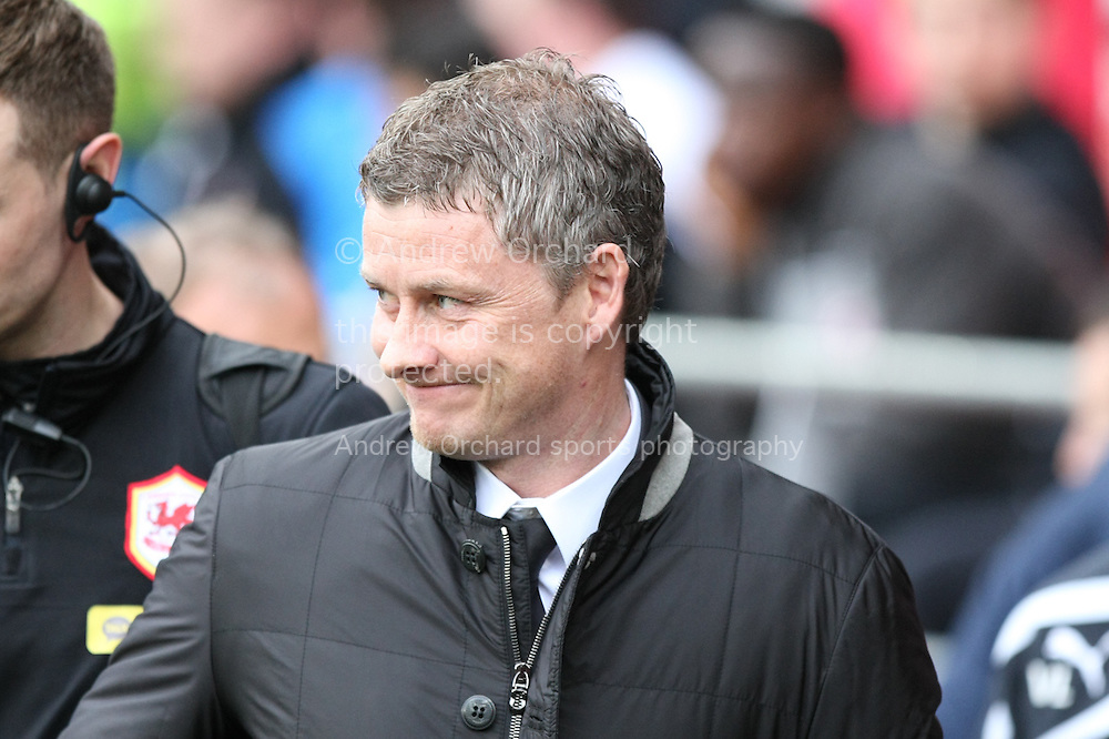 Cardiff City manager Ole Gunnar Solskjaer looks on ahead of the match. Barclays Premier league match, Cardiff city v Crystal Palace at the Cardiff city stadium in Cardiff, South Wales on Saturday 5th April 2014.<br /> pic by Mark Hawkins, Andrew Orchard sports photography.