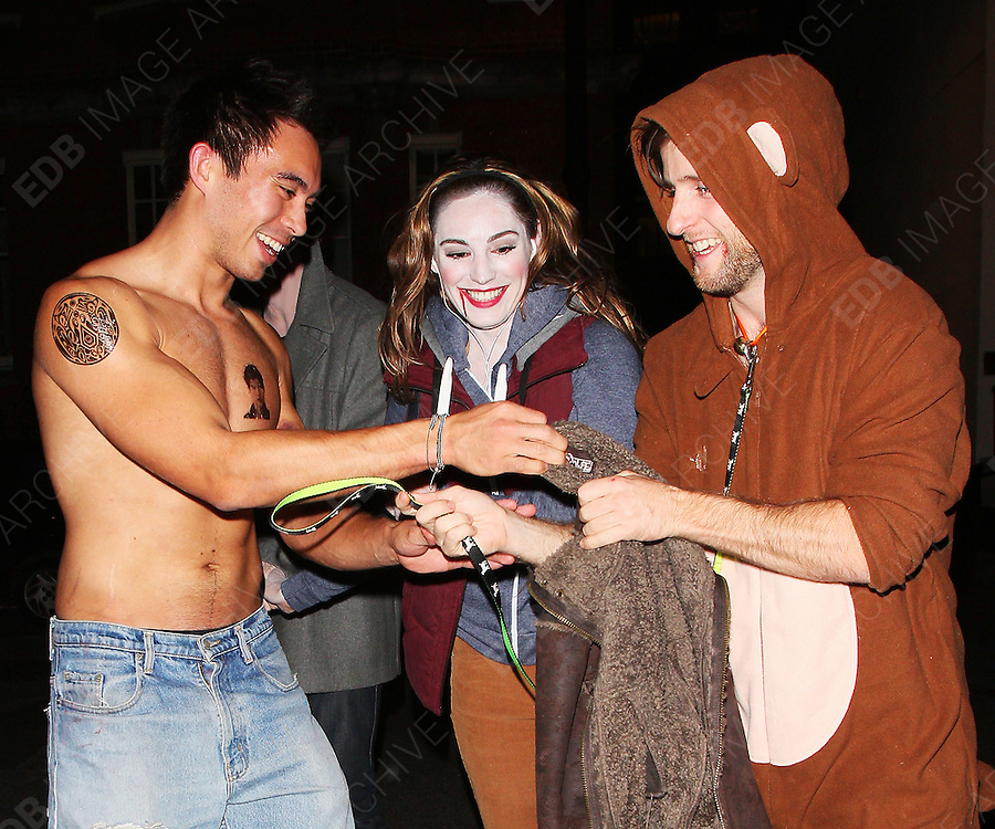 29.OCTOBER.2011. LONDON<br /> <br /> KELLY BROOK ARRIVES AT THE PUNCHBOWL FOR A HALLOWEEN PARTY. SHE DRESSED AS BELLA SWAN, WITH BOYFRIEND THOM EVANS DRESSED AS EDWARD CULLEN, AND THEIR FRIEND WENT AS JACOB BLACK, ALL CHARACTERS FROM 'TWILIGHT'.<br /> <br /> BYLINE: EDBIMAGEARCHIVE.COM<br /> <br /> *THIS IMAGE IS STRICTLY FOR UK NEWSPAPERS AND MAGAZINES ONLY*<br /> *FOR WORLD WIDE SALES AND WEB USE PLEASE CONTACT EDBIMAGEARCHIVE - 0208 954 5968*