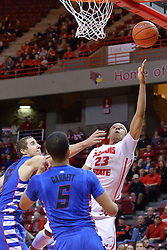 22 December 2013:  Zach Lofton leans one in during an NCAA  mens basketball game between the Blue Demons of DePaul falling to  the Illinois State Redbirds 69-64 in Redbird Arena, Normal IL