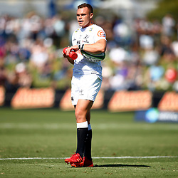 Curwin Bosch of the Cell C Sharks during the super rugby match between the Melbourne Rebels and the Cell C Sharks at the  Mars Stadium,Ballarat,Western suburbs of Melbourne,Victoria, Australia, 22,020,2020 (Photo Steve Haag /HollywoodBets)