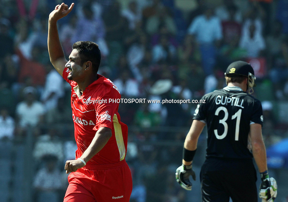Canada bowler Harvir Baidwan celebrates New Zealand batsman Martin Guptill wicket During the ICC Wolrd Cup-2011 Canada vs New Zealand match Played at Wankhede Stadium, Mumbai
