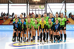 Players of RK Ljubljana on fourth place during handball match between RK Ljubljana and ZRK Z Dezele in Bronze Medal game of Slovenian Women Handball Cup 2017/18, on April 1, 2018 in Park Kodeljevo, Ljubljana, Slovenia. Photo by Matic Klansek Velej / Sportida