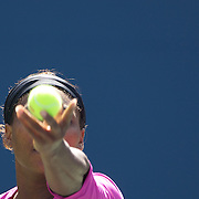 Serena Williams, (pictured) and Venus Williams, USA, in action during their victory over Black and Huber  during the Women's Doubles Final at  the US Open Tennis Tournament at Flushing Meadows, New York, USA, on Monday, September 14, 2009. Photo Tim Clayton.