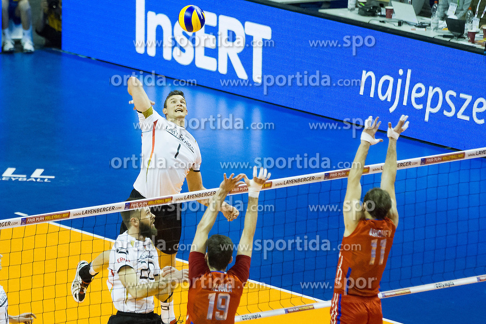 09.01.2016, Max Schmeling Halle, Berlin, GER, CEV Olympia Qualifikation, Deutschland vs Russland, im Bild Christian Fromm (#1, GER) // during 2016 CEV Volleyball European Olympic Qualification Match between Germany and Russia at the Max Schmeling Halle in Berlin, Germany on 2016/01/09. EXPA Pictures © 2016, PhotoCredit: EXPA/ Eibner-Pressefoto/ Wuechner<br /> <br /> *****ATTENTION - OUT of GER*****